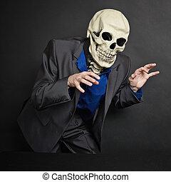 personne, volé, masque, squelette, terrifying