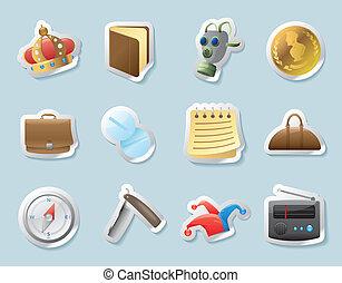 personnel, affaires, autocollant, icônes