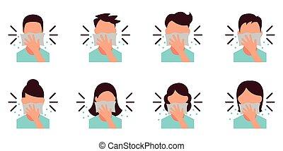personnel, -, bouche, eps, hygiène, éternuer, quoique, 10, couverture, icône, fichier, tissu