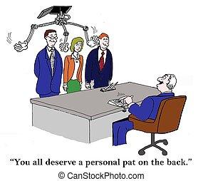 personnel, caresse, dos, patron