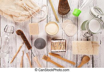 personnel, concept., soutenable, style de vie, hygiene., gaspillage, fournitures, zéro