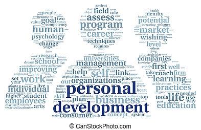 personnel, développement, étiquette, nuage