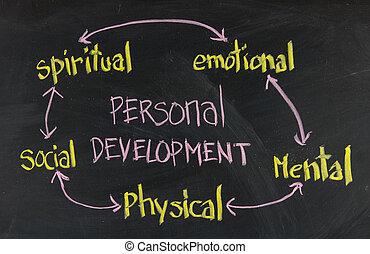 personnel, développement, concept, tableau noir