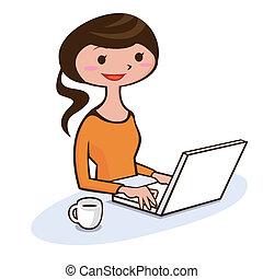 personnel, femme, informatique