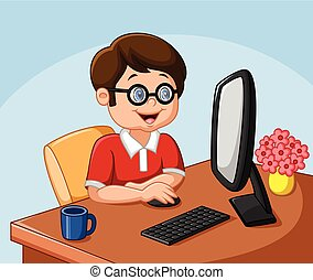 personnel, garçon, peu, informatique