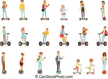 personnel, gens, électrique, batery, self-balancing, whith, ou, équitation, deux, scooters, poweres, une, cartooon, ensemble, caractères, roues
