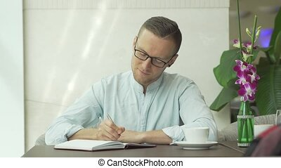 personnel, homme affaires, organisateur, écriture