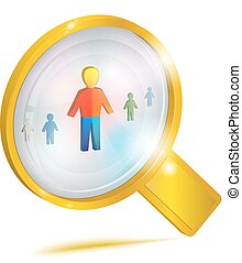Personnel management. Concept icon. - Large gold magnifying...