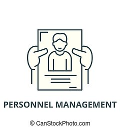 Personnel management vector line icon, linear concept, outline sign, symbol