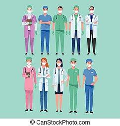 personnel, monde médical, healthcare, groupe, caractères, ...