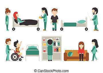 personnel, monde médical, vecteur, gens, conception, fond, plat, isolé, blanc, docteur, illustration, ton, soin, editable, graphique, infirmière
