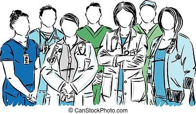 personnel, monde médical, vecteur, infirmières, illustration...