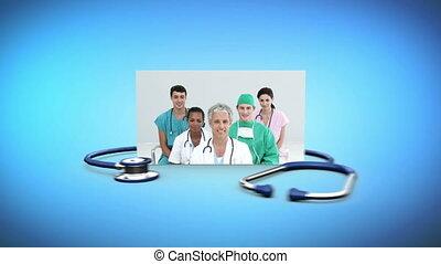personnel, montage, monde médical