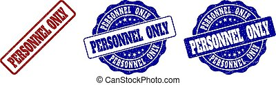 PERSONNEL ONLY Scratched Stamp Seals - PERSONNEL ONLY grunge...