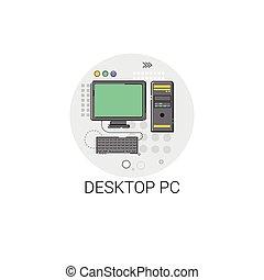 personnel, ordinateur pc, bureau, icône