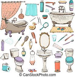 personnel, salle bains, ensemble, hygiène, icônes