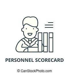 Personnel scorecard vector line icon, linear concept, outline sign, symbol