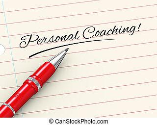 personnel, -, stylo, entraînement, papier, 3d