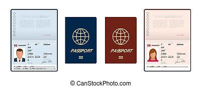 personnel, template., illustration., international, vecteur, échantillon, vide, page., ouvert, isolé, immigration., voyage, passeport, document, données
