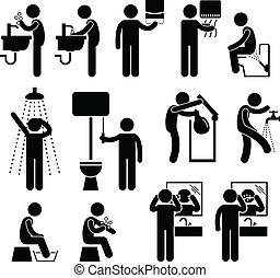 personnel, toilette, hygiène