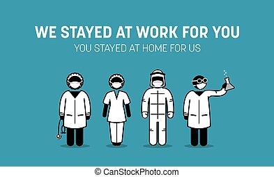 personnels, baston, contre, covid-19, virus, docteur, maison, séjour, outbreak., infirmière, ouvriers, maladie, public, exhorter, coronavirus, monde médical, frontliners