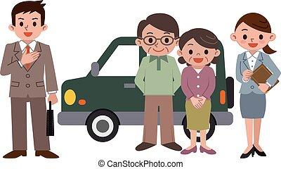 personnes âgées accouplent, acheter, a, voiture