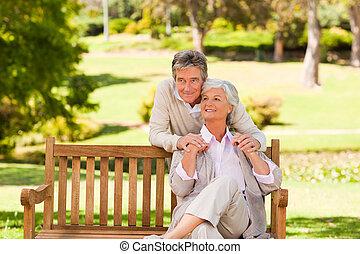 personnes âgées accouplent, parc