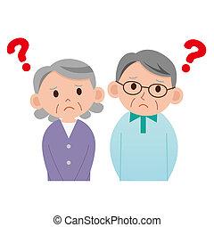 personnes âgées accouplent, qui, pense