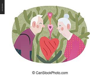 personnes âgées accouplent, valentin, graphiques, amour, -