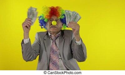 personnes agées, dollar, clown, homme affaires, danse, travailleur indépendant, argent, espèces