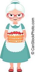 personnes agées, femme foyer, grand-mère, portant lunettes, et, tablier, tenue, a, fait maison, gâteau