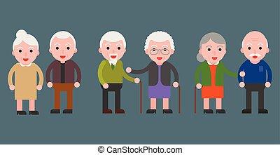 personnes agées, grand-maman, et, papy, couple, icône, plat, conception
