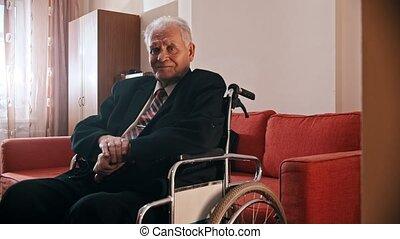 personnes agées, heureux, séance, fauteuil roulant, appareil photo, grand-père, -, regarder