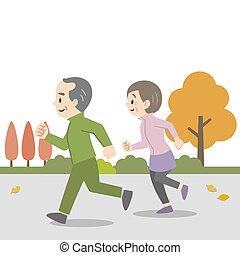 personnes agées, illustration, couple, jogging