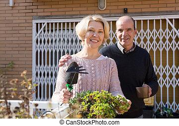 personnes agées, patio, époux