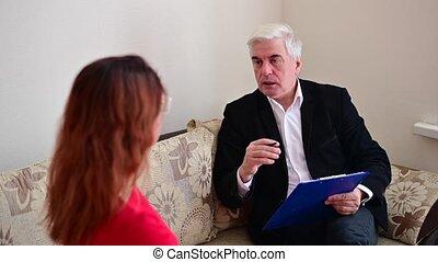 personnes agées, psychothérapeute, mâle, patient., femme, ...
