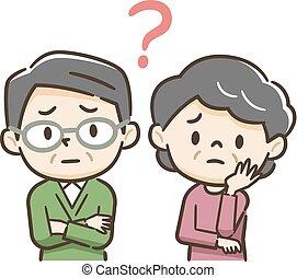 personnes agées, regard, couple, préoccupé