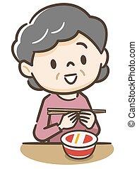 personnes agées, tasse, femme mange, ramen