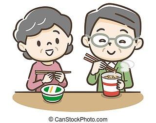 personnes agées, tasse, manger, ramen, couple