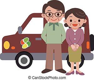 personnes agées, voitures, couple