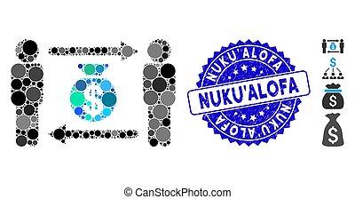 personnes, argent, nuku'alofa, échange, sac, collage, icône, timbre, détresse