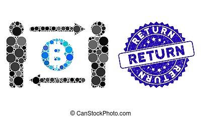 personnes, collage, icône, timbre, textured, échange, retour, bitcoin