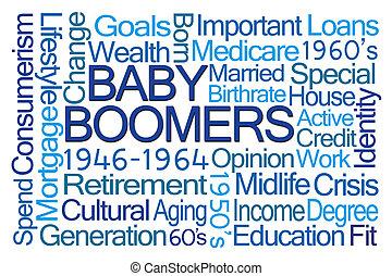 personnes nées baby boom, mot, nuage