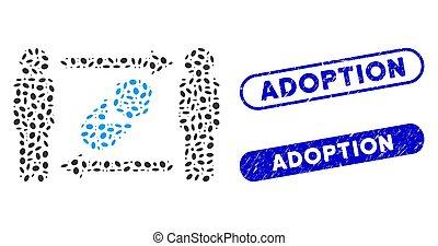 personnes, nouveau né, adoption, collage, ovale, filigranes, échange, grunge