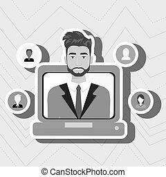 personnes, ordinateur portable, relation, homme