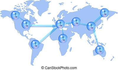 personnes, plusieurs, réseau, social