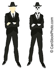 Persons and skeleton in suit and tie