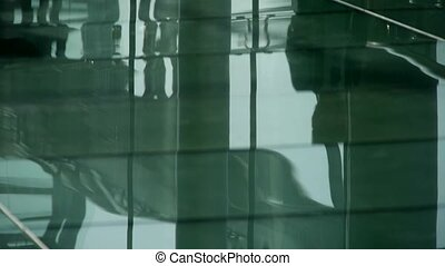Person's shadow,Figure reflection o