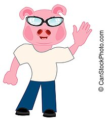 Persons with head piglet - Comic personage of the person...