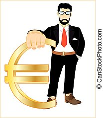 Persons with sign euro